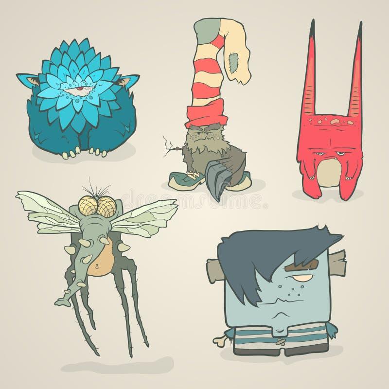 Grupo do vetor de monstro bonitos dos desenhos animados das ilustrações ilustração stock