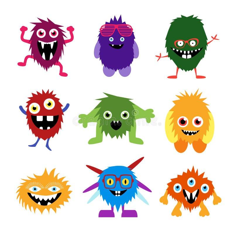 Grupo do vetor de monstro bonitos e de estrangeiros dos desenhos animados ilustração do vetor