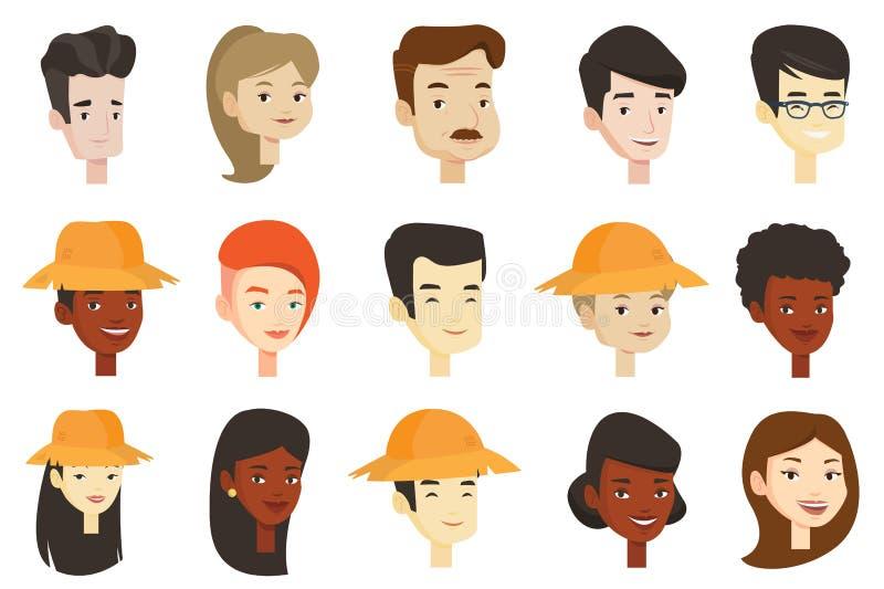 Grupo do vetor de mulheres e de homens multiculturais ilustração do vetor