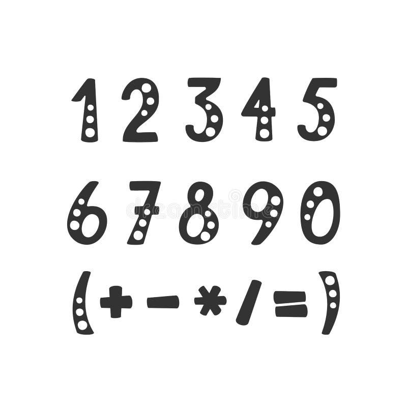 Grupo do vetor de números e de símbolos matemáticos ilustração stock
