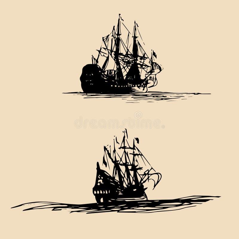 Grupo do vetor de navios de navigação no mar na linha estilo da tinta A mão esboçou silhuetas velhas do navio de guerra Projeto m ilustração do vetor