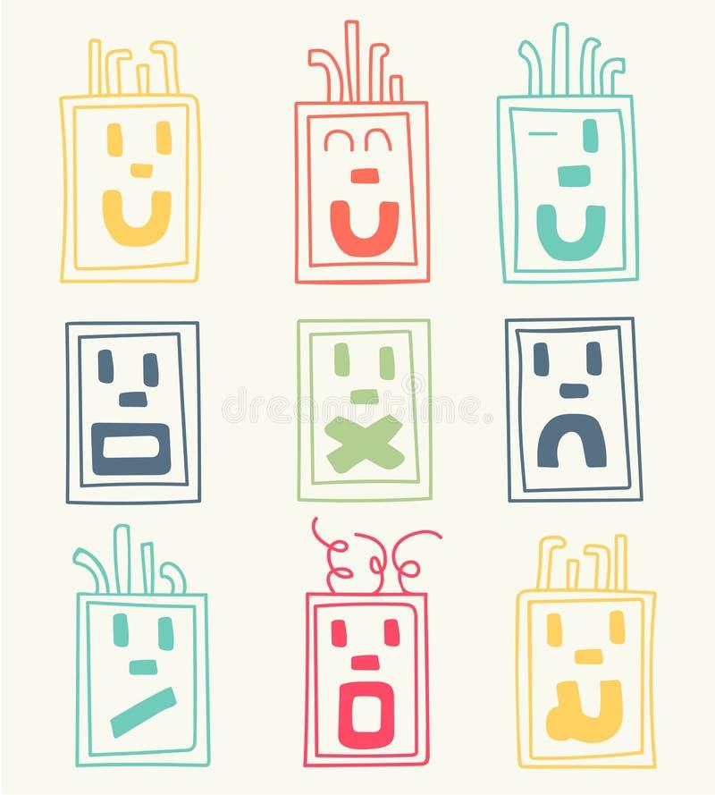 Grupo do vetor de nove caras, emoticons ilustração royalty free