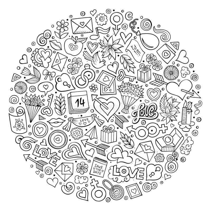 Grupo do vetor de objetos da garatuja dos desenhos animados do amor ilustração royalty free
