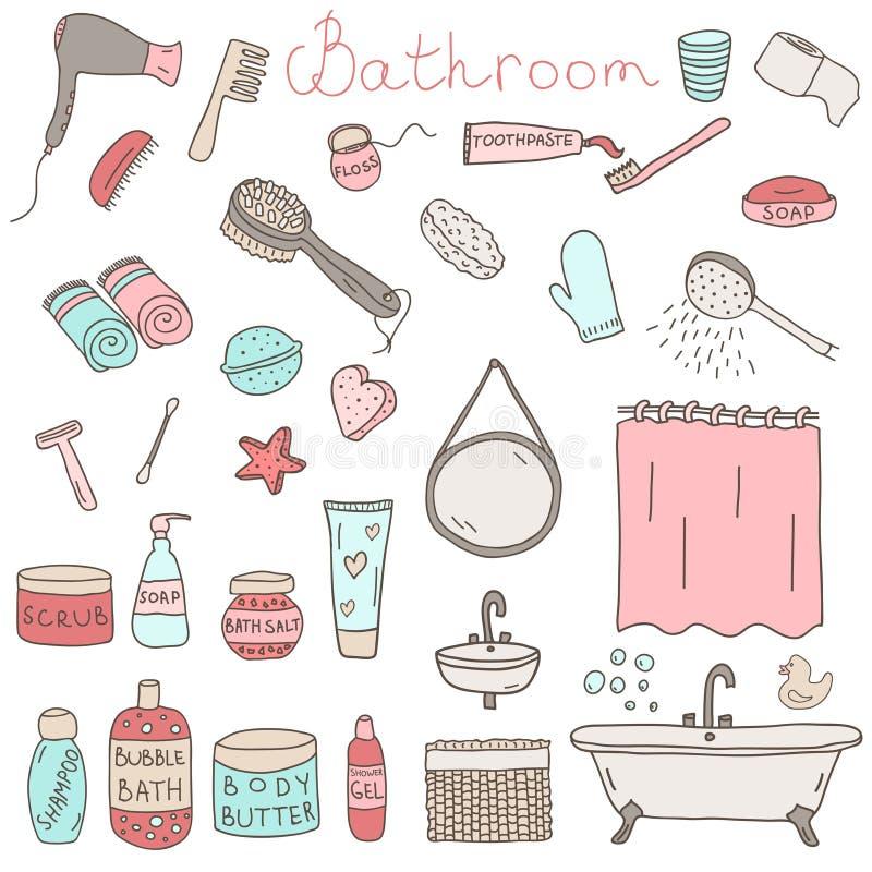Grupo do vetor de objetos e de dispositivos temáticos tirados do banheiro ilustração stock