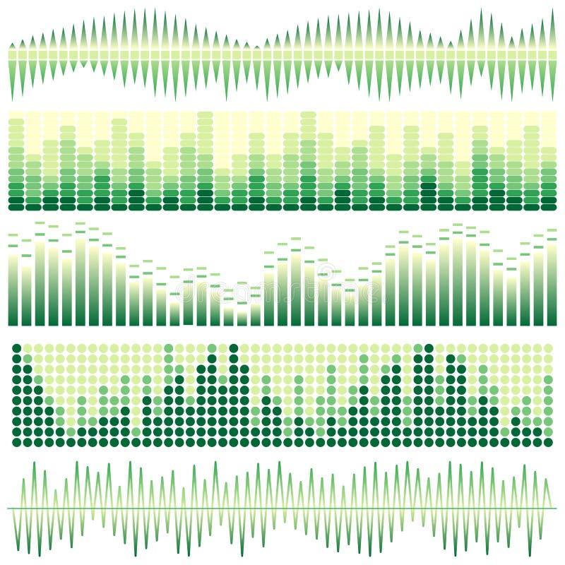 Grupo do vetor de ondas sadias verdes Equalizador audio Ondas do som & do áudio ilustração stock