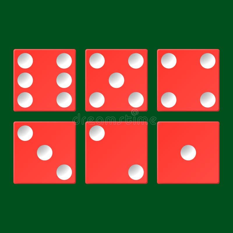 Grupo do vetor de opinião superior dos dados vermelhos do casino isolado na tabela verde do pôquer ilustração do vetor