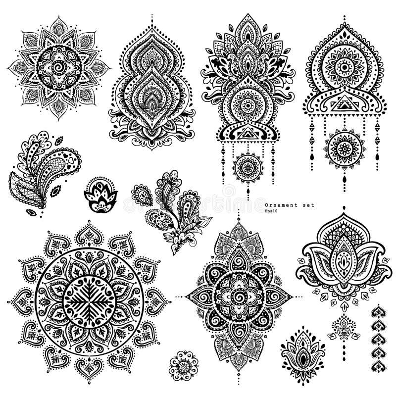 Grupo do vetor de ornamento florais indianos de paisley ilustração do vetor