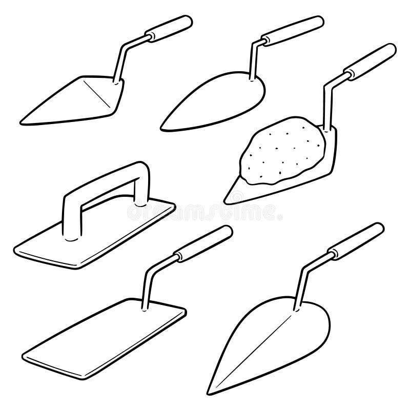 Grupo do vetor de pá de pedreiro ilustração do vetor