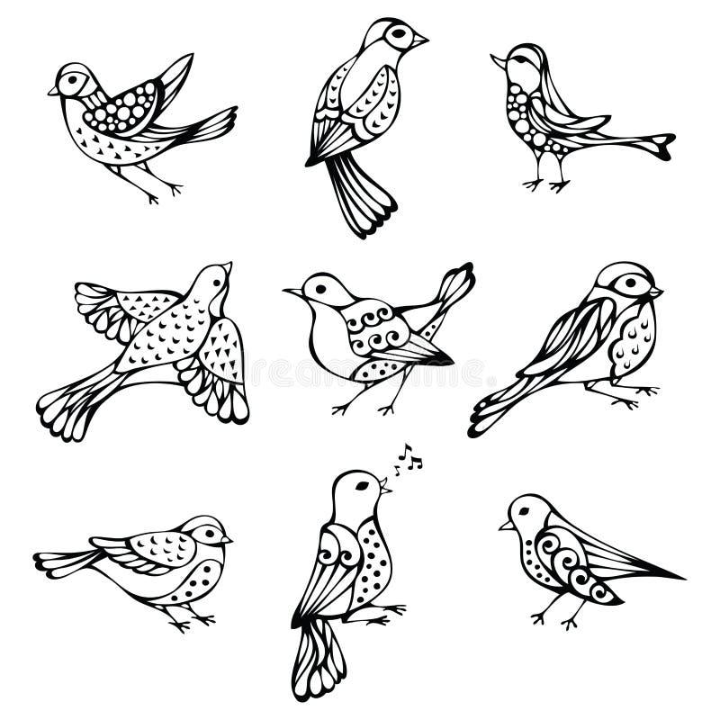 Grupo do vetor de pássaros do vintage ilustração stock