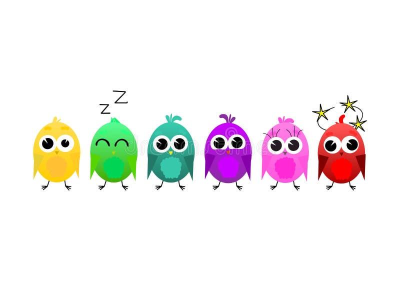 Grupo do vetor de p?ssaros coloridos dos desenhos animados ilustração stock
