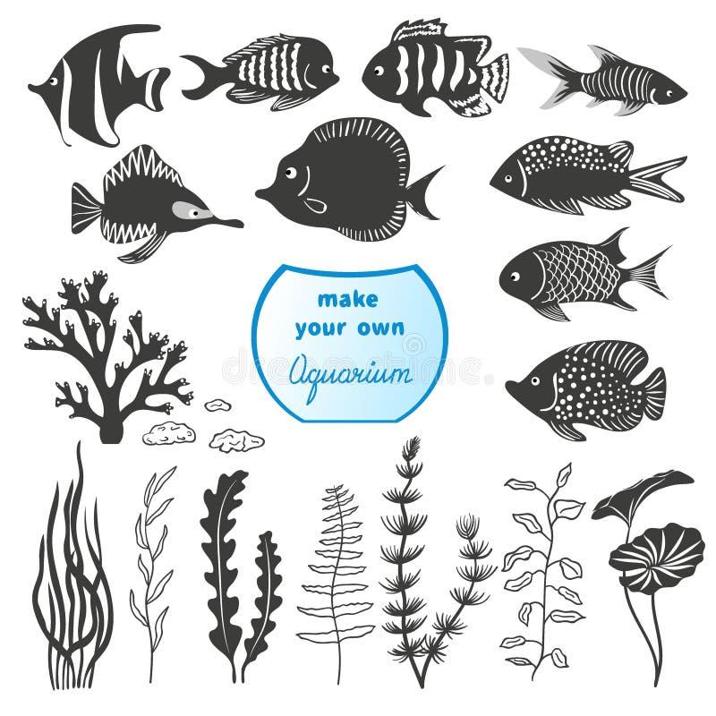 Grupo do vetor de peixes e de decorações diferentes para fazer seu próprio aquário ilustração royalty free