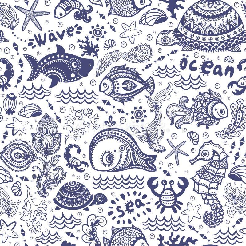 Grupo do vetor de peixes e de shell ilustração royalty free