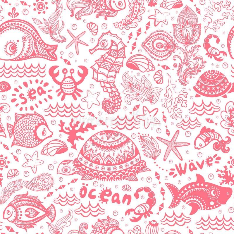 Grupo do vetor de peixes e de shell ilustração do vetor