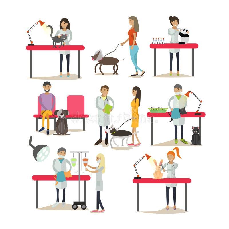 Grupo do vetor de pessoal da clínica do veterinário, clientes, animais de estimação, projeto liso ilustração do vetor