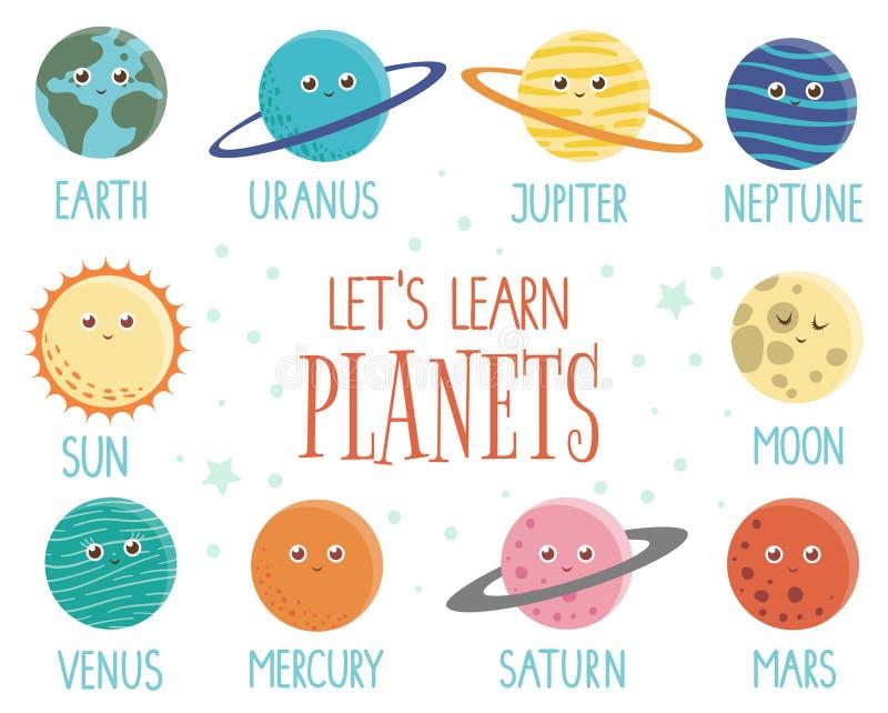 Grupo do vetor de planetas para crianças ilustração stock