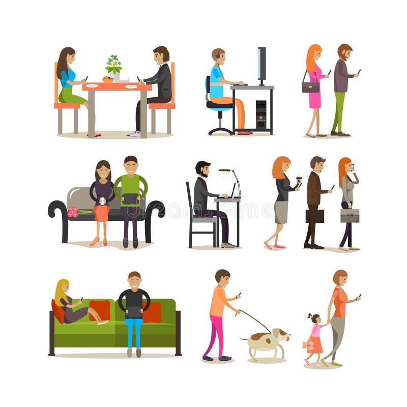 Grupo do vetor de povos com dispositivos modernos, projeto liso do estilo ilustração stock