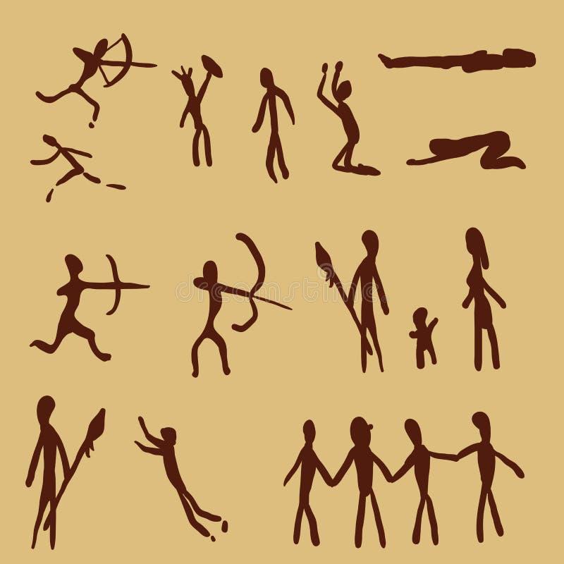Grupo do vetor de povos da pintura de caverna Art Illustrations primitivo ilustração royalty free