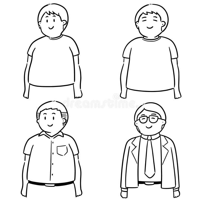 Grupo do vetor de povos gordos ilustração stock
