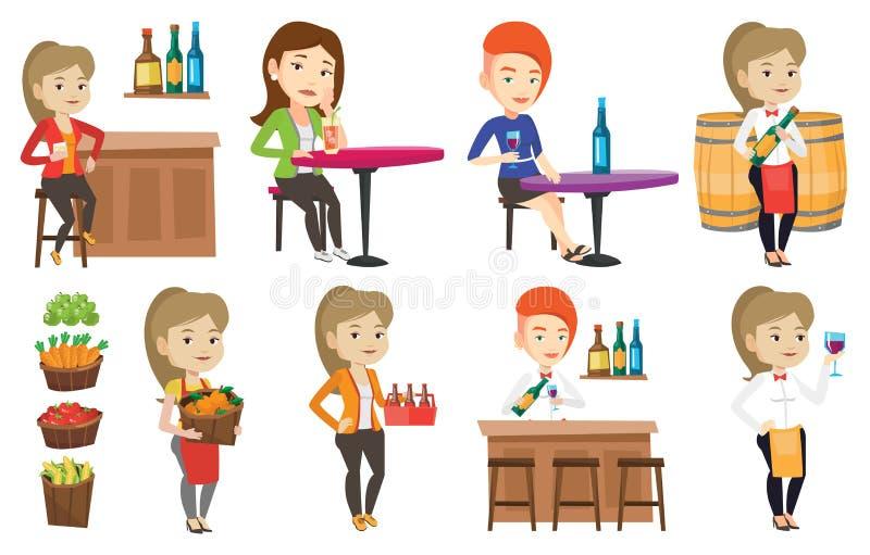 Grupo do vetor de povos que comem e que bebem ilustração royalty free