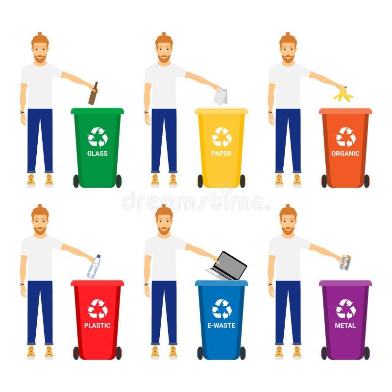 Grupo do vetor de povos que recolhem o plástico, metal, papel, lixo eletrônico, vidro, desperdício orgânico para reciclar ilustração do vetor