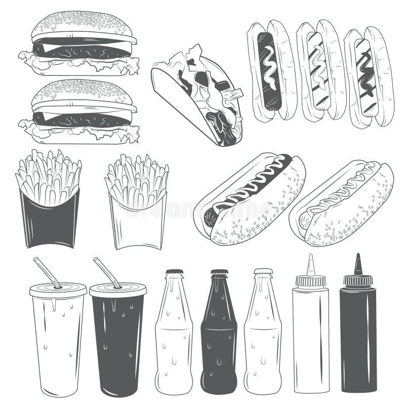 Grupo do vetor de produtos de fast food isolados no fundo branco no estilo monocromático Elementos e ícones do projeto ilustração do vetor