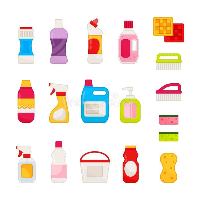 Grupo do vetor de produtos químicos de agregado familiar ilustração do vetor