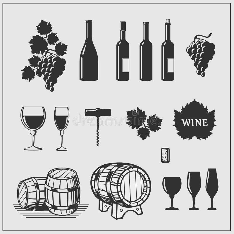 Grupo do vetor de produtos de vinho ilustração do vetor