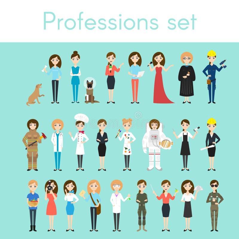 Grupo do vetor de profissões coloridas diferentes da mulher ilustração do vetor