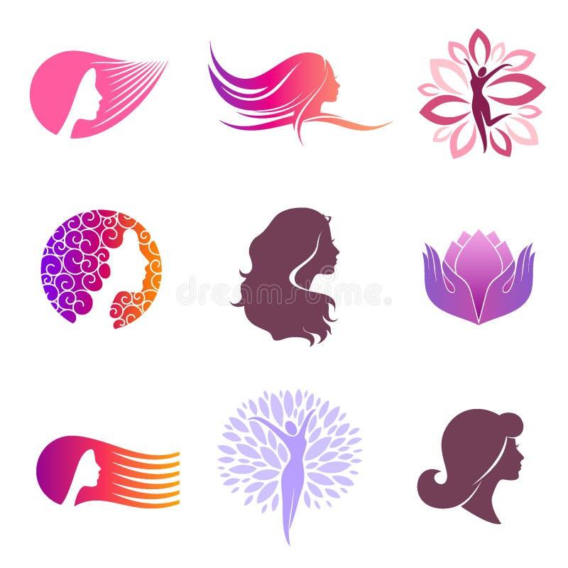Grupo do vetor de projeto do logotipo para o salão de beleza ilustração stock