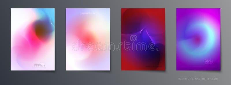 Grupo do vetor de projeto fluido colorido abstrato do fundo, da abstração, o holográfico e do inclinação da composição da cor par ilustração royalty free