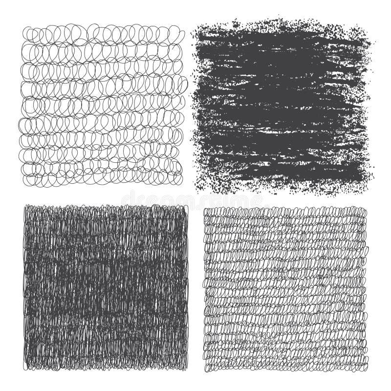 Grupo do vetor de quadrados tirados mão Esboço, grupo de texturas Eleme ilustração do vetor