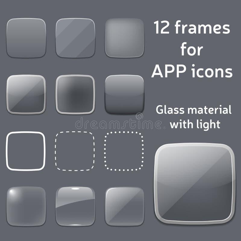 Grupo do vetor de quadros de vidro vazios para ícones do app ilustração stock