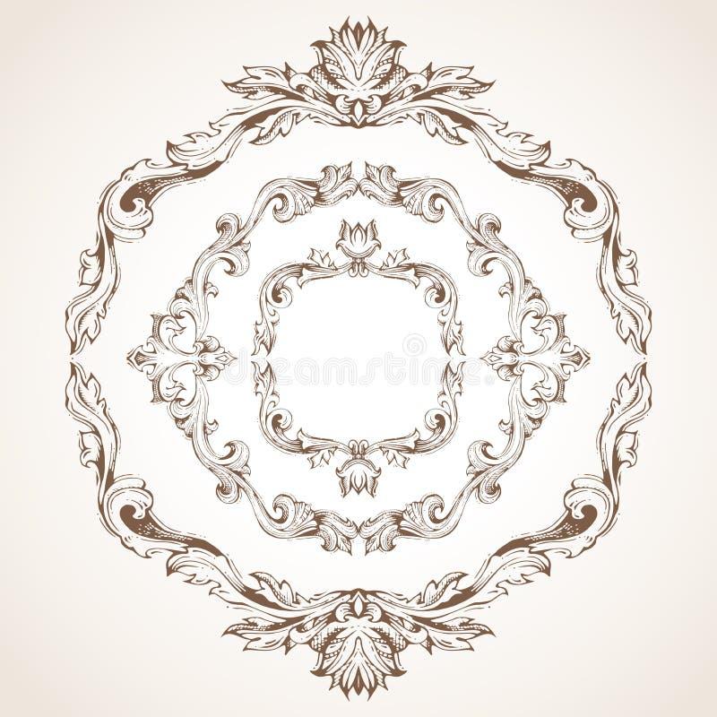 Grupo do vetor de quadros do vintage do círculo ilustração do vetor