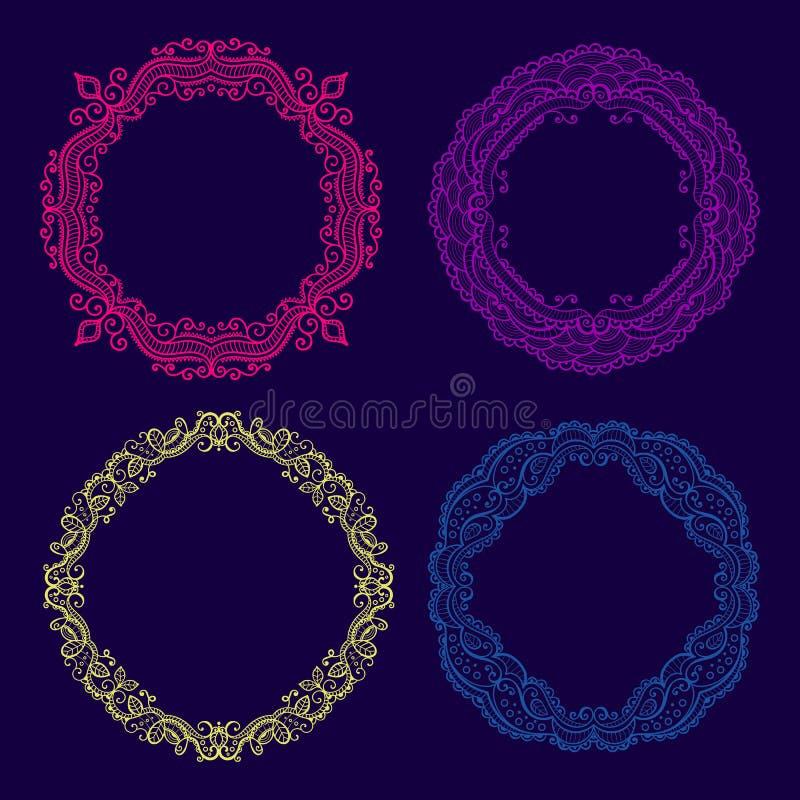 Grupo do vetor de quadros florais do círculo do laço ilustração do vetor