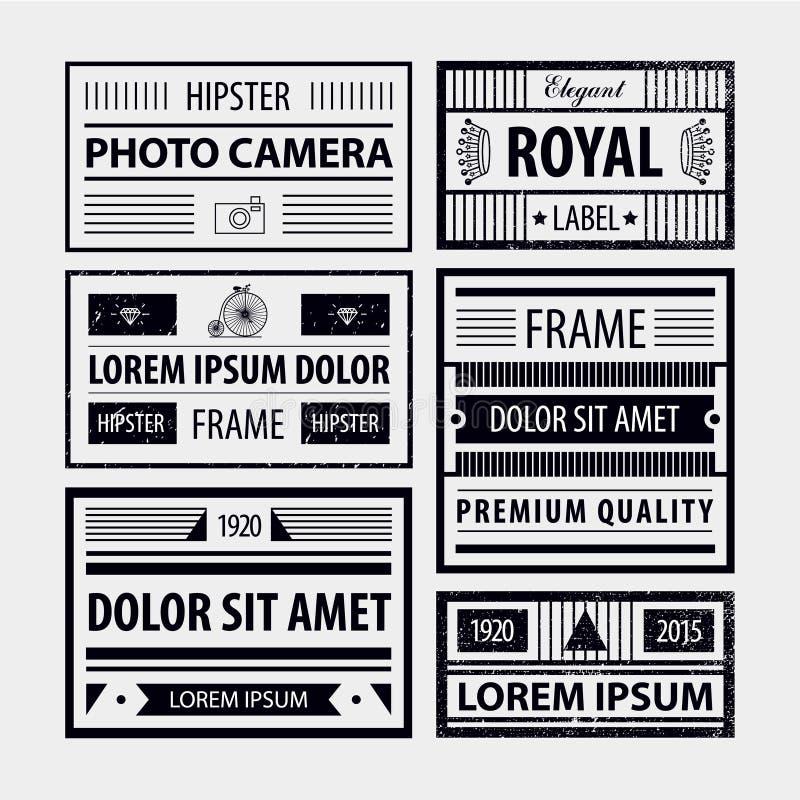 Grupo do vetor de quadros modernos do moderno, etiquetas ilustração stock