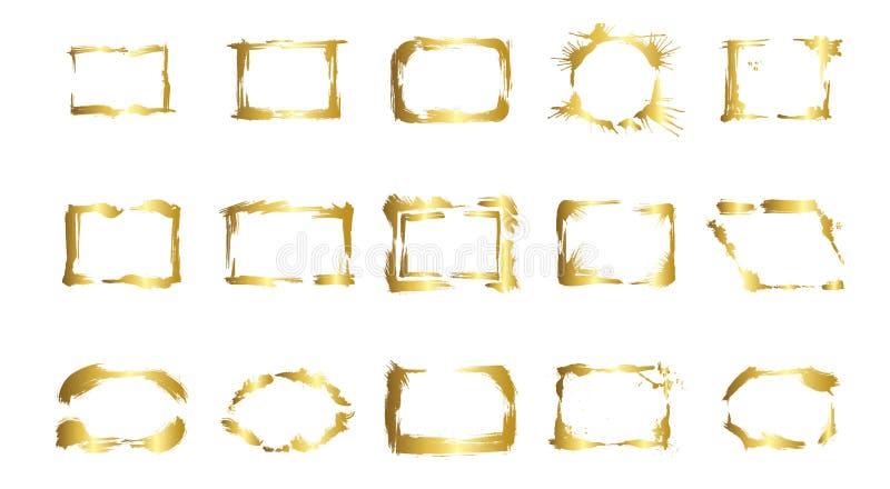 Grupo do vetor de quadros secos da escova Quadros art?sticos tirados m?o Arte gravada dourada da tinta Elemento isolado da ilustr ilustração stock