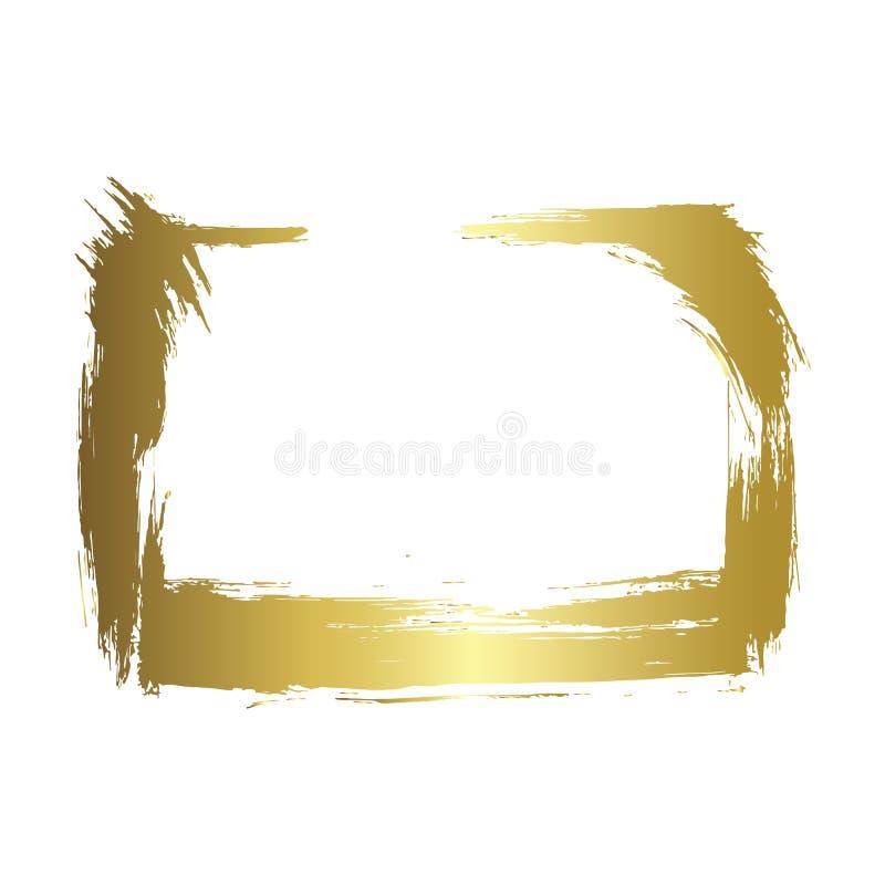 Grupo do vetor de quadros secos da escova Quadros art?sticos tirados m?o Arte gravada dourada da tinta Elemento isolado da ilustr ilustração do vetor