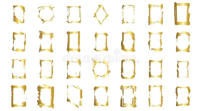 Grupo do vetor de quadros secos da escova Quadros art?sticos tirados m?o Arte gravada dourada da tinta Elemento isolado da ilustr ilustração royalty free