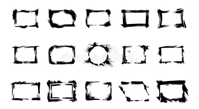 Grupo do vetor de quadros secos da escova Arte gravada preto e branco da tinta Elemento isolado da ilustra??o ilustração do vetor