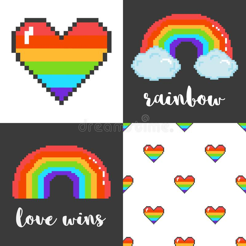 Grupo do vetor de quatro 8 cartazes mordidos da arte LGBT do pixel ilustração do vetor