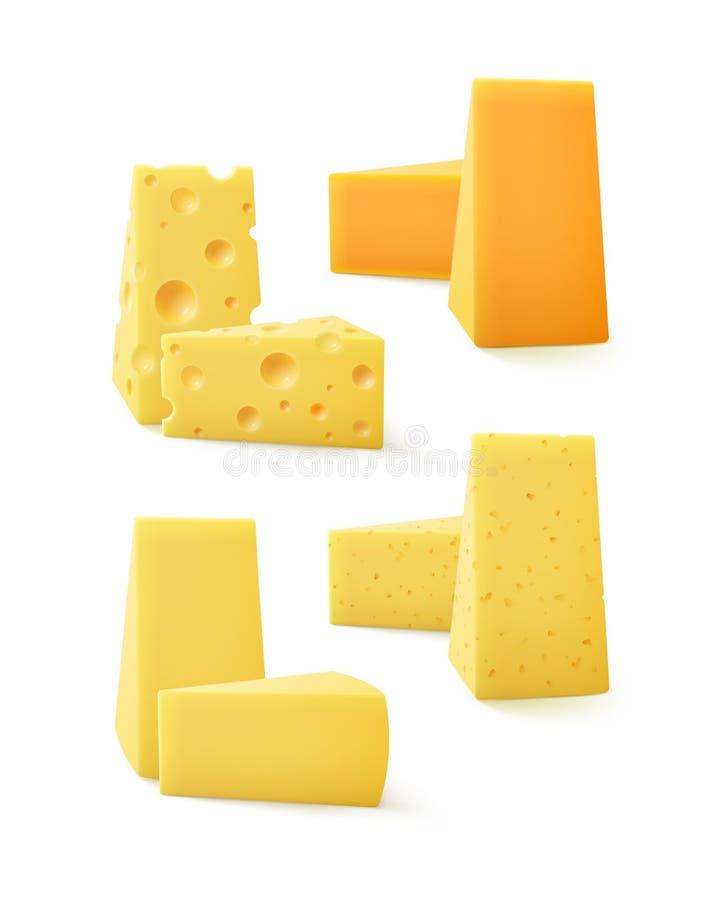 Grupo do vetor de queijo suíço do queijo Cheddar triangular das partes ilustração stock