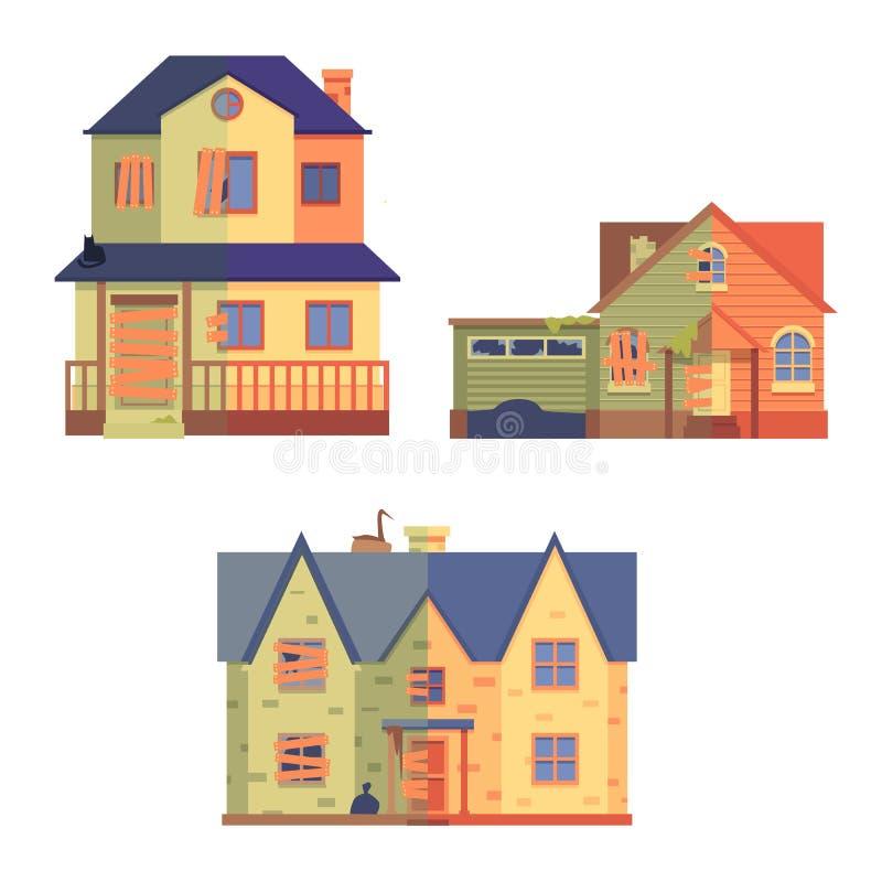 Grupo do vetor de renova??o da casa no estilo liso dos desenhos animados, antes e depois ilustração stock