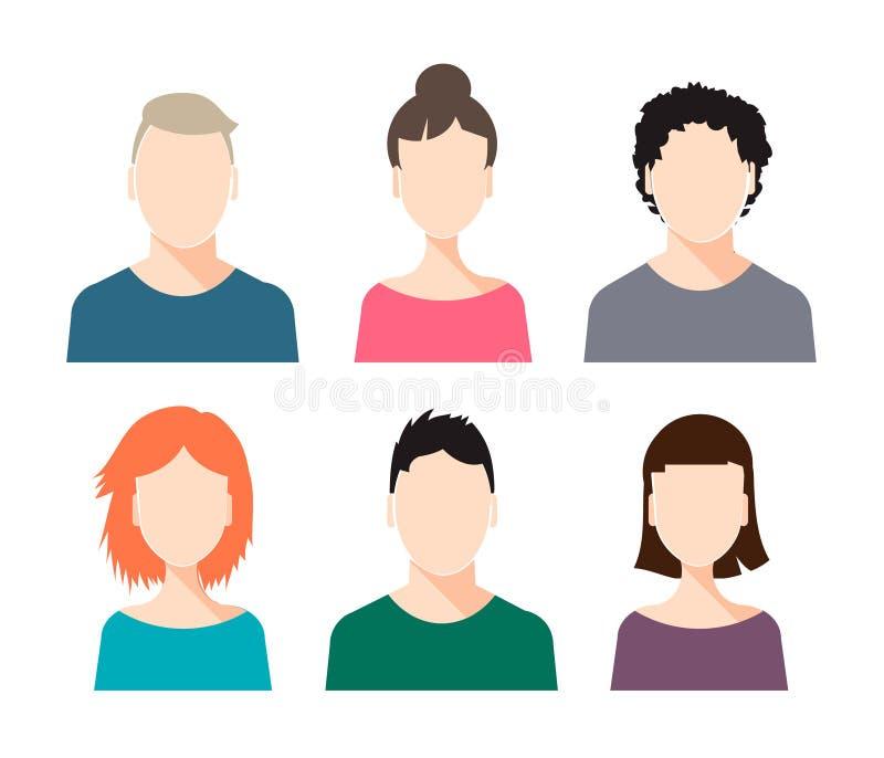Grupo do vetor de rostos humanos - homem e fêmea, com penteados diferentes ilustração royalty free
