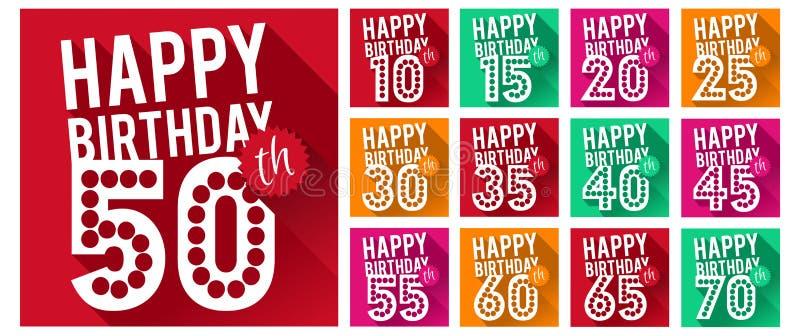 Grupo do vetor de símbolos do feliz aniversario ilustração stock