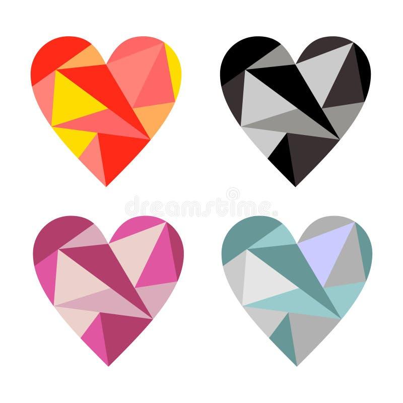 Grupo do vetor de símbolos dos corações Ilustrações gráficas coloridas isoladas nos fundos ilustração do vetor