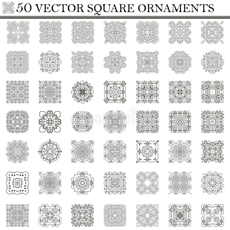 Grupo do vetor de símbolos Ornamento quadrado abstrato Retr decorativo ilustração stock