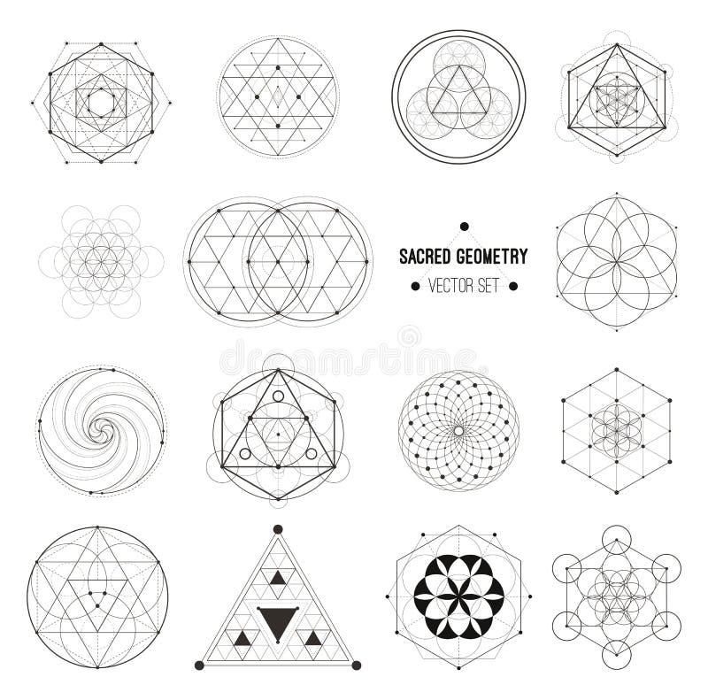 Grupo do vetor de símbolos sagrados da geometria ilustração royalty free