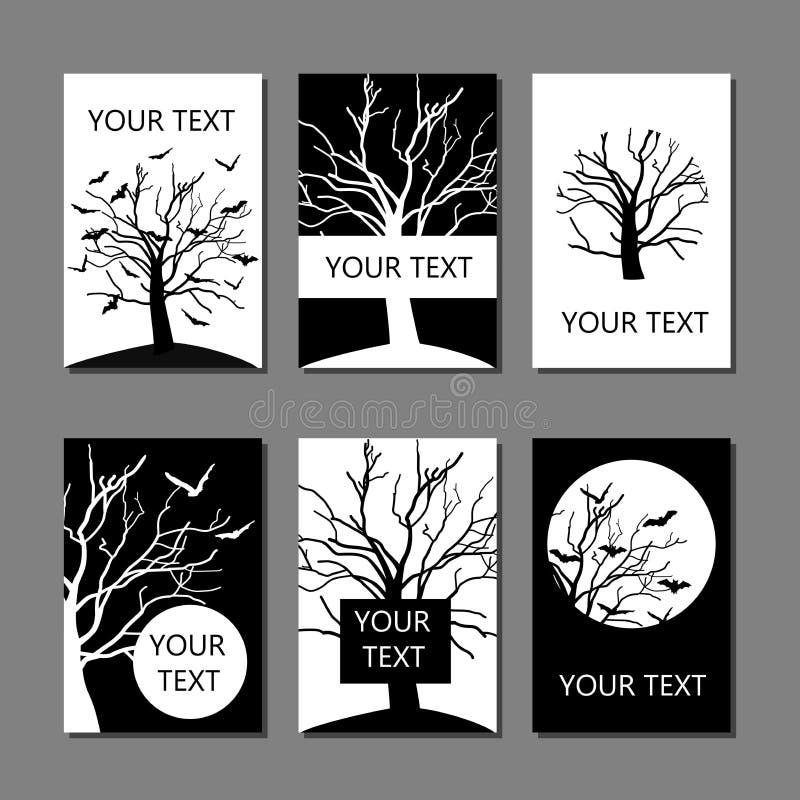 Grupo do vetor de seis cartões ou moldes de tampa tirados mão em preto e branco com bastões e árvore ilustração do vetor