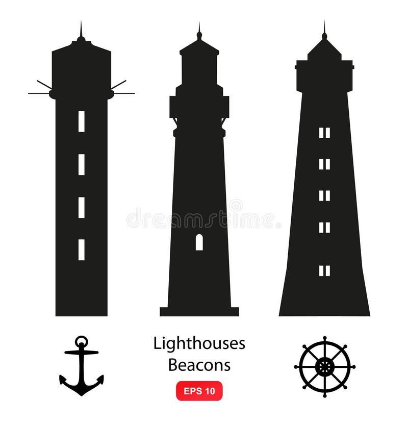 Grupo do vetor de silhuetas com faróis, balizas e símbolos marinhos ilustração do vetor