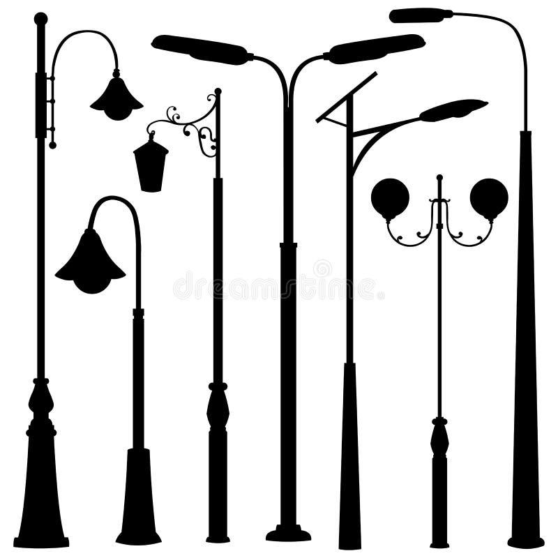 Grupo do vetor de silhuetas das luzes de rua ilustração do vetor